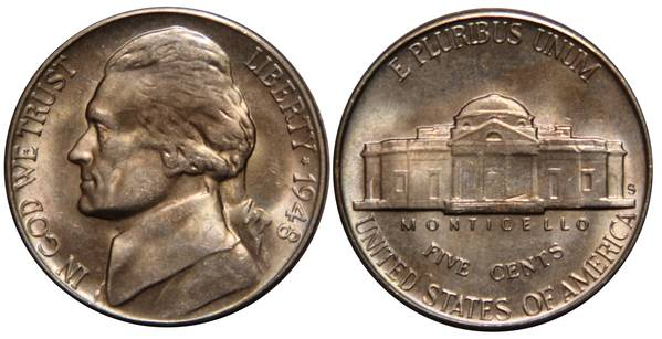 1948 S Jefferson Nickel UNC