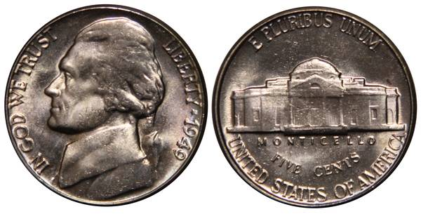 1949 P Jefferson Nickel UNC