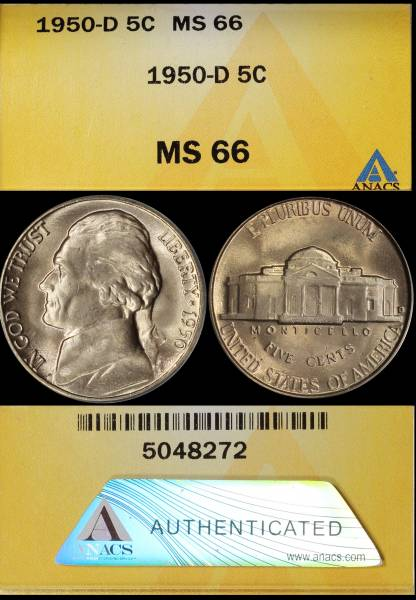 1950 D Jefferson Nickel ANACS MS66 5048272 display.JPG