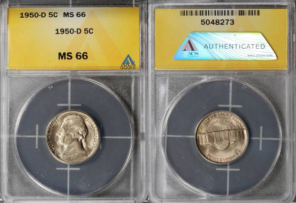 1950 D Jefferson Nickel ANACS MS66 5048273 slab
