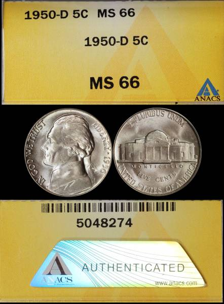1950 D Jefferson Nickel ANACS MS66 5048274 display