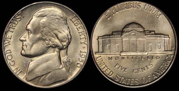1950 D Jefferson Nickel Coin 01