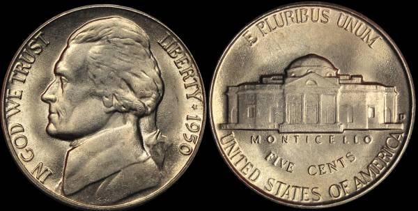 1950 D Jefferson Nickel Coin 03