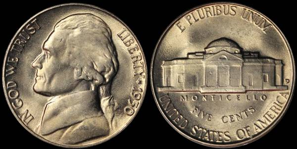 1950 D Jefferson Nickel Coin 12