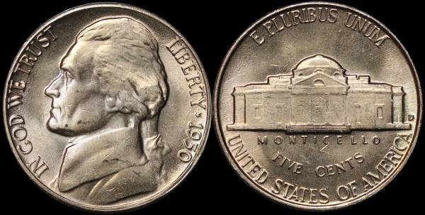 1950 D Jefferson Nickel Coin 14