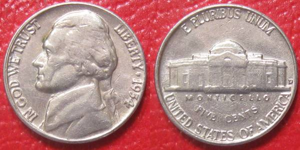 1954 D Jefferson Nickel F12