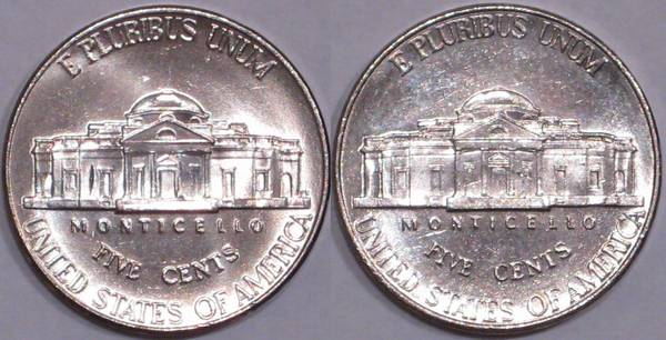 Compare a 2008 P Jefferson Nickel steps to a 2001 D