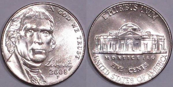 2008 P Jefferson Nickel AU58/Unc