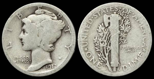 1917 P Mercury Dime Good