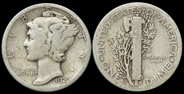 1920 S Mercury Dime Very Good VG8