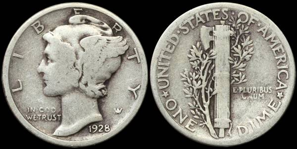 1928 P Mercury Dime VG10 Very Good