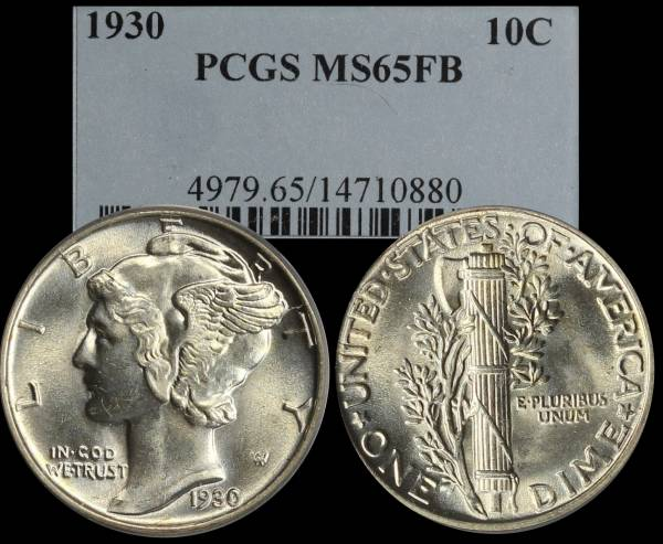 1930 P Mercury Dime PCGS MS65 FB