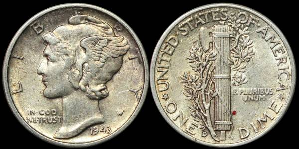 1943 D Mercury Dime XF40 EF40 Extremely Fine