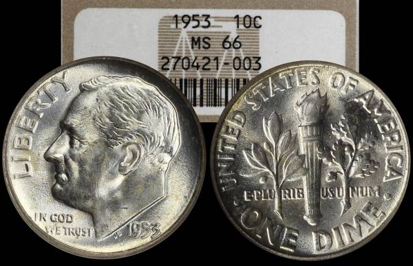 1953 P Roosevelt Dime NGC MS66 270421-003