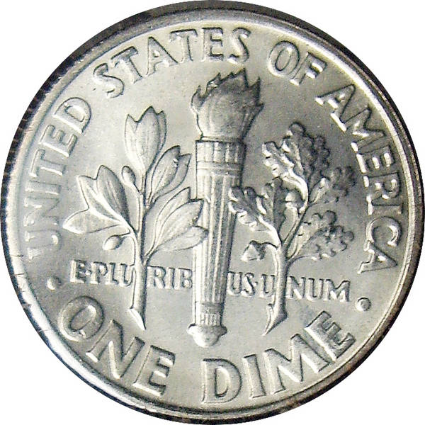 1964 Roosevelt Silver Dime reverse