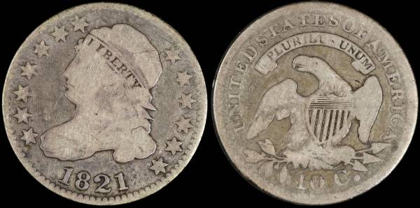 1821 Capped Bust Dime G6
