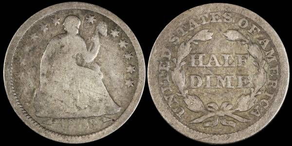 1853 P Seated Liberty Half Dime Fair F2