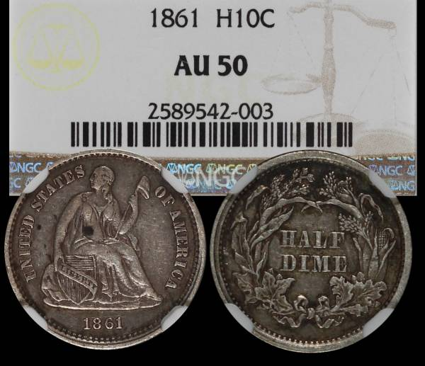 1861 Seated Liberty Half Dime NGC AU50 2589542-003