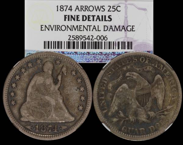 1874 Seated Liberty Quarter Arrows NGC Fine Details Environmental Damage 25