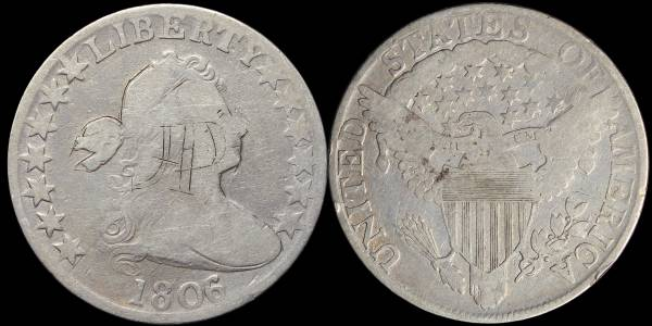 1806 Draped Bust Half Dollar VG details knobbed 6 large stars coin 09