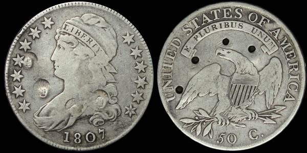 1807 Capped Bust Half Dollar VG Details Large Stars coin 15