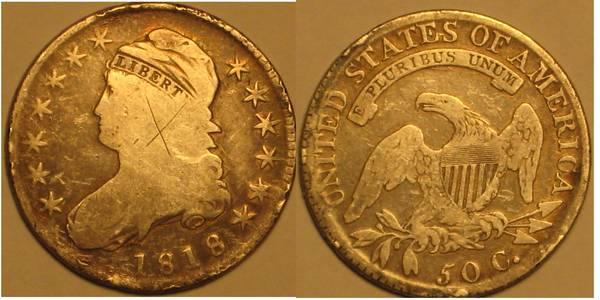 1818 Capped Bust Half Dollar Defaced