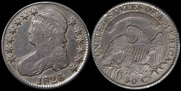1826 Capped Bust Half Dollar F details coin 26
