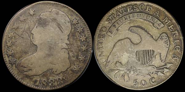 1833 Capped Bust Half Dollar G details coin 10