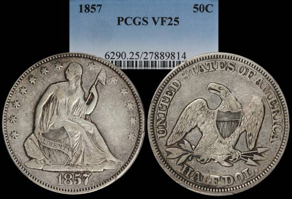 1857 Seated Liberty Half Dollar PCGS VF25 27889814