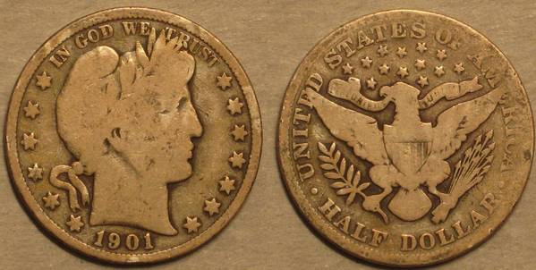 1901 P Barber Half Dollar AG3 Almost G4