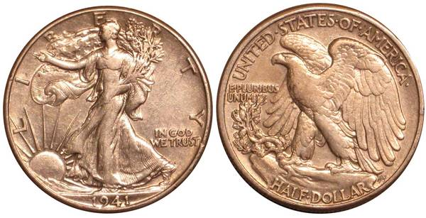1941 P Walking Liberty Half Dollar XF-AU
