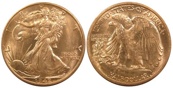 1942 D Walking Liberty Half Dollar PCGS MS64