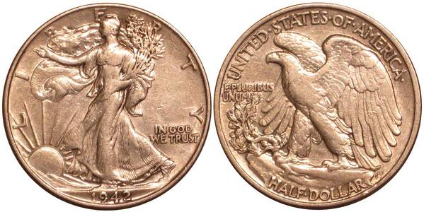 1942 P Walking Liberty Half Dollar XF-AU
