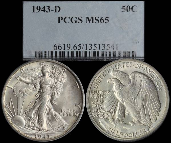 1943 D Walking Liberty Half Dollar PCGS MS65 13513541