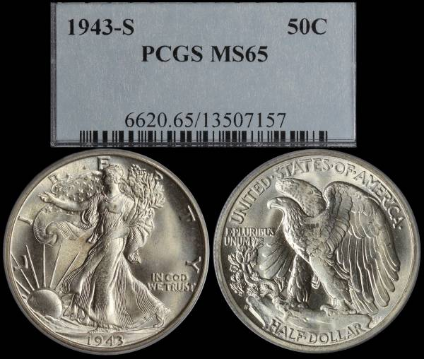 1943 S Walking Liberty Half Dollar PCGS MS65 13507157