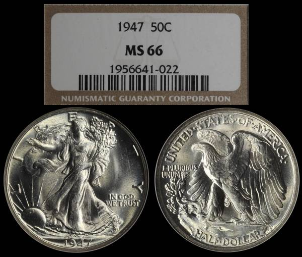 1947 P Walking Liberty Half Dollar NGC MS66 1956641-022