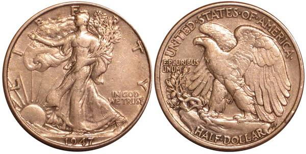 1947 P Walking Liberty Half Dollar XF-AU