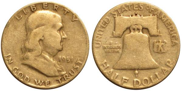 1951 D Franklin Half Average Circulation