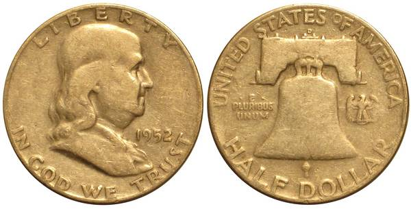 1952 D Franklin Half Average Circulation