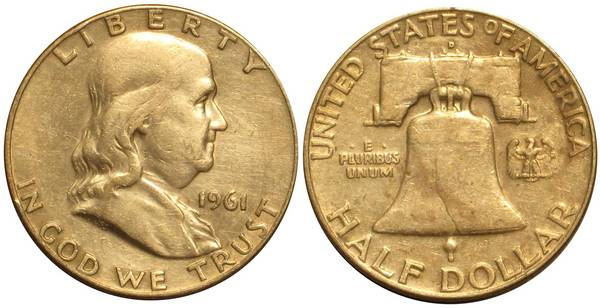 1961 D Franklin Half Harshly Cleaned Obverse