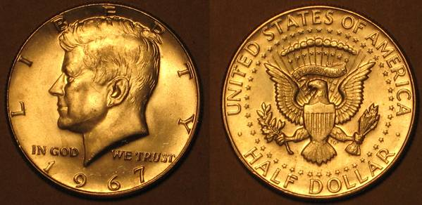 1967 Kenndy Half Dollar Obverse and Reverse