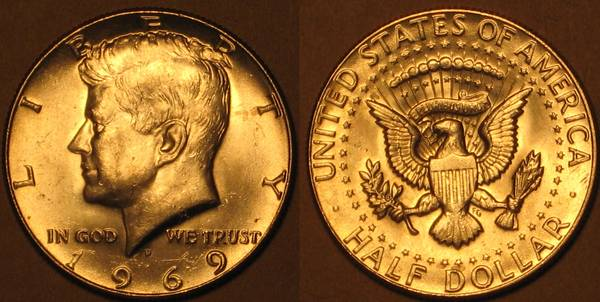 1969 D Kennedy Half Dollar Obverse and Reverse.