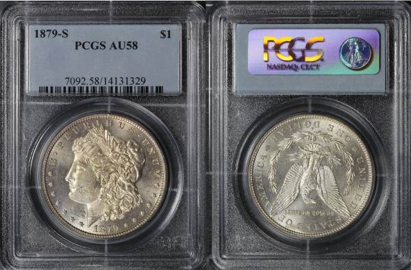 1879 S Morgan Dollar PCGS AU58 14131329 slab