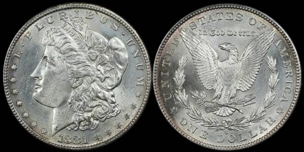 1881 S Morgan Dollar Uncirculated cleaned