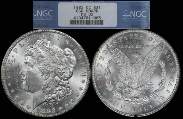 1882 CC Morgan Dollar NGC MS62 GSA Hoard 4134701-005