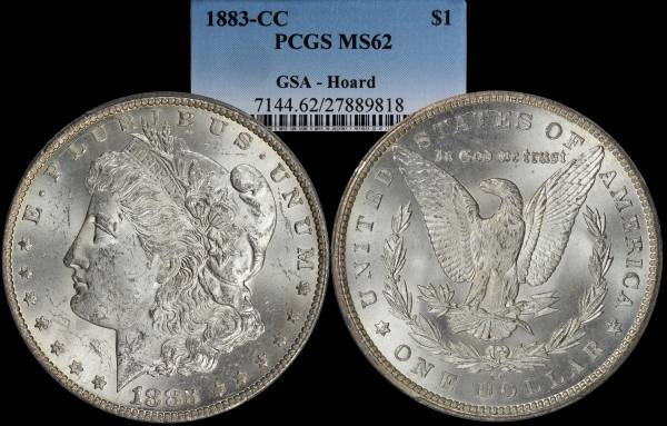 1883 CC Morgan Dollar PCGS MS62 GSA Hoard 27889818