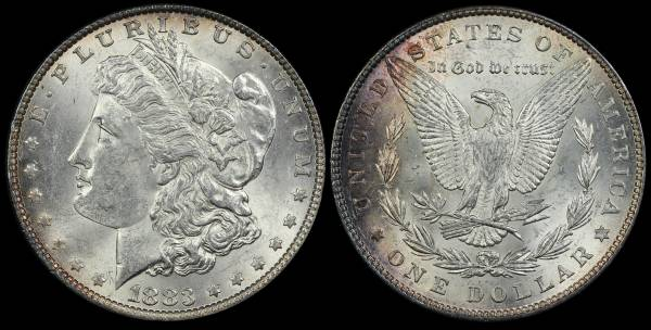 1883 P Morgan Dollar AU BU Purple toning