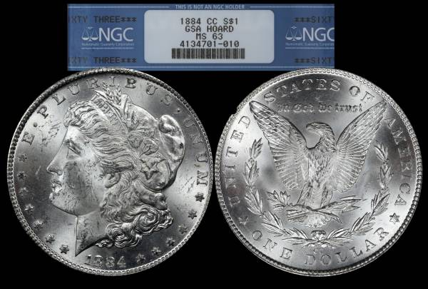 1884 CC Morgan Dollar NGC MS63 GSA Hoard 4134701-010
