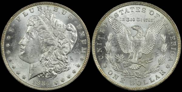 1884 O Morgan Dollar AU BU