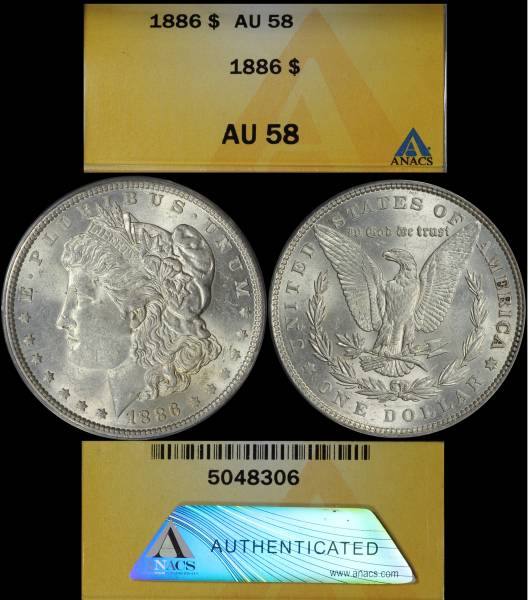 1886 P Morgan Dollar ANACS AU58 5048306 Display